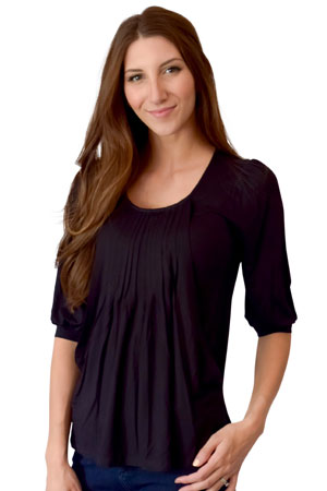 Sophie & Eve Safia 3/4 Sleeve Bamboo Pleated Nursing Top by Sophie & Eve