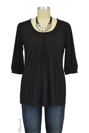 Sophie & Eve Safia 3/4 Sleeve Bamboo Pleated Nursing Top (Black) by Sophie & Eve