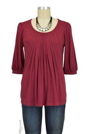 Sophie & Eve Safia 3/4 Sleeve Bamboo Pleated Nursing Top (Burgundy) by Sophie & Eve