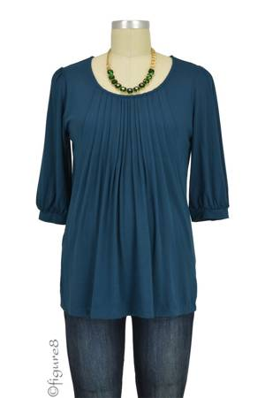 Sophie & Eve Safia 3/4 Sleeve Bamboo Pleated Nursing Top (Midnight Forest) by Sophie & Eve