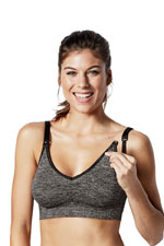 Bravado Designs Body Silk Seamless Yoga Nursing Bra (Charcoal Heather) by Bravado