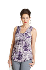 Milky Way Kerala Sleeveless Nursing Top (Purple Print) by Milky Way