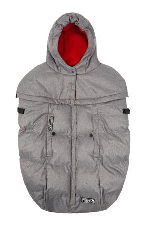 7 am Enfant Pookie Poncho - Fleece Lined (Heather Grey/Red Fleece) by 7 A.M. Enfant