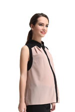 Ella Sleeveless Color Contrast Maternity Blouse by Spring Maternity (Sand/Black) by Spring Maternity