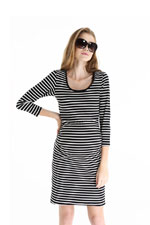 Angelina 3/4 Sleeve Striped Nursing Dress by Spring Maternity (Black Stripes) by Spring Maternity