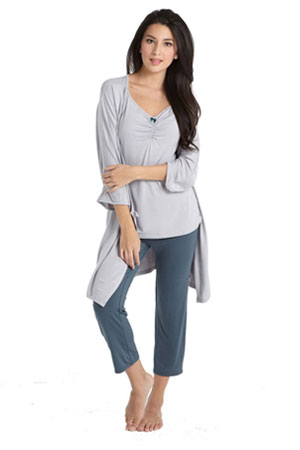 Bamboo Caminurse PJ & Robe Set (3 pc.) by Mothers en Vogue