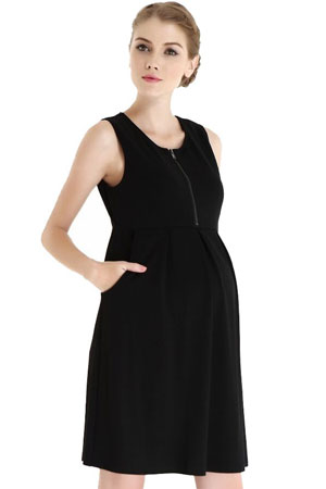 Spring Maternity Ponte Front Zip Maternity & Nursing Dress by Spring Maternity