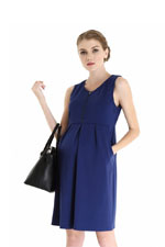 Spring Maternity Ponte Front Zip Nursing Dress (Navy) by Spring Maternity