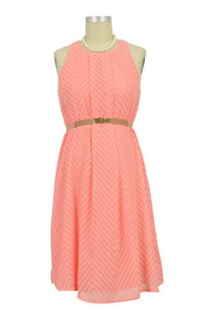 Stella Woven Nursing Dress with Belt (Coral Pink) by Spring Maternity