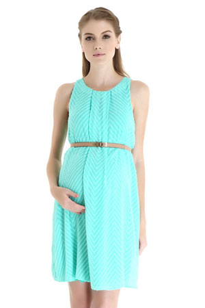 Stella Woven Nursing Dress with Belt (Mint Chevron) by Spring Maternity
