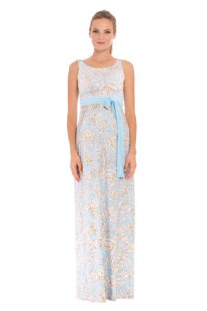 Sasha Maxi Maternity Dress (Blue & Ivory Leaf Print) by Olian