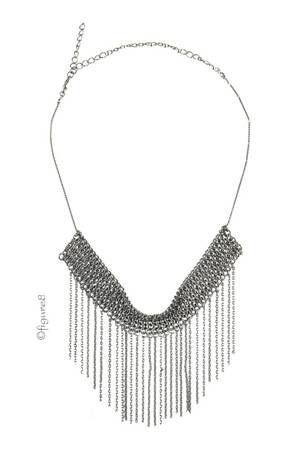 Dark Silver Fringe Choker Necklace (Dark Silver) by Jewelry Accessories