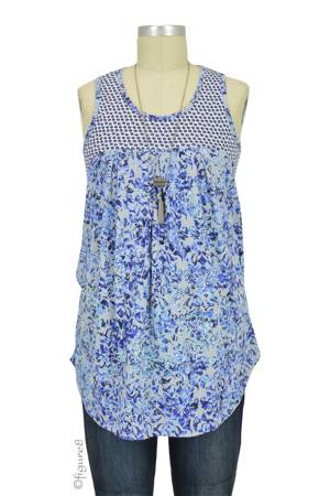 Milky Way Mixed Print Nursing Tank (Blue and White Mix Print) by Milky Way