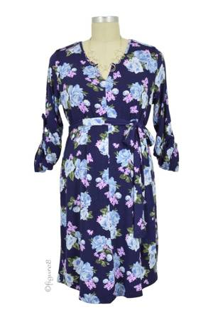 Kari Floral Maternity Shirt Dress (Navy Floral Print) by Everly Grey