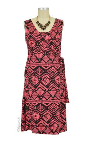 Shelly Sleeveless Nursing Dress (Aztec Coral) by Everly Grey