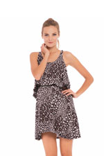 Willow Leopard Print Nursing Night Gown (Gray & Black Leopard Print) by Olian