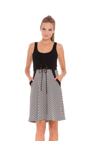 Lily Stripes Maternity Dress (Black & White Stripes) by Olian