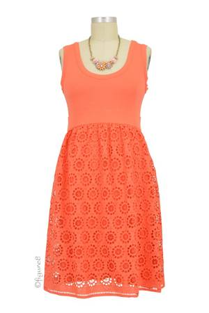 Alexandra Eyelet Maternity Dress (Coral Eyelet) by Olian
