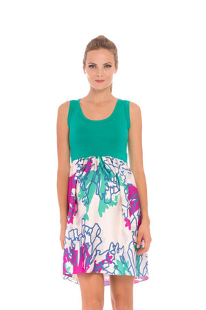 Clarissa Maternity Dress (White, Green & Purple Print) by Olian