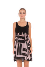 Zoe Maternity Dress (Rose & Black Geometric Print) by Olian