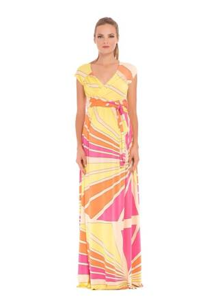 Trista Maxi Maternity Dress (Abstract Print) by Olian