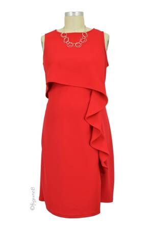 Francesa Cascade Ruffle Nursing Dress (Red) by Maternal America