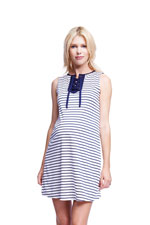 Briana Lace Up Placket Maternity Dress (White/Navy Stripe) by Maternal America
