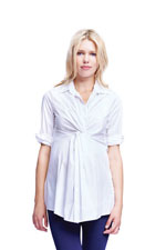Gianna Front Twist Tunic Blouse (White) by Maternal America