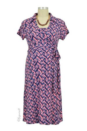 Clara Collared Wrap Nursing Dress (Mosaics) by Annee Matthew