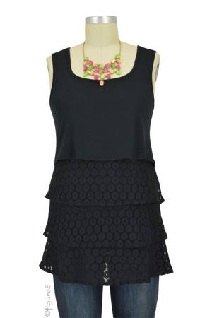 Jules Tiered Lace Nursing Top (Black Lace) by Annee Matthew