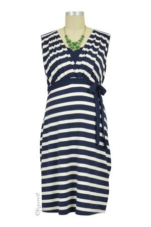 Christina Sleeveless Nursing Dress (Navy Stripes) by Noppies