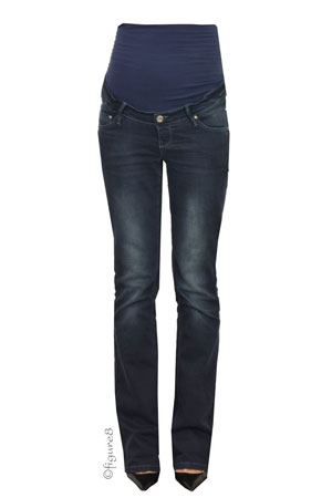 Jenny Over/Under the Belly Bootcut Maternity Jeans (Dark Stone Wash) by Noppies