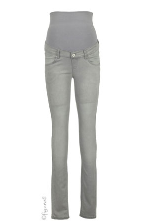 April Over/Under the Belly Skinny Maternity Jeans (Grey Denim) by Noppies