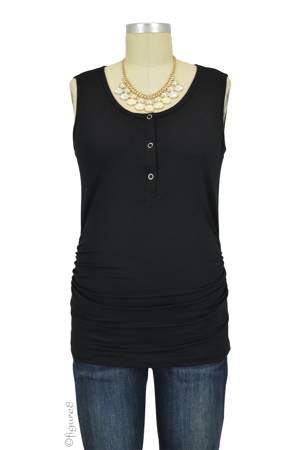 Mimi Ruched Snap Nursing Tank (Black) by LAB40
