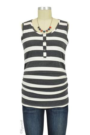 Mimi Ruched Snap Nursing Tank (Charcoal & White Stripes) by LAB40