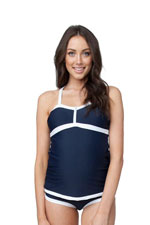 Robyn Zipper Nursing Tankini (Navy & White) by Ripe Maternity