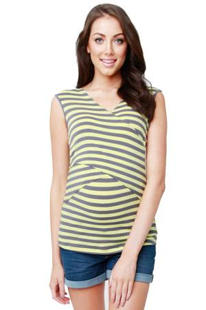 Millie Striped Cross Nursing Top (Grey & Yellow) by Ripe Maternity