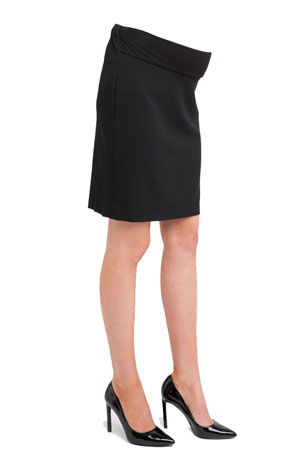 Evelyn Professional Maternity Skirt with Tummy Band (Black) by Ripe Maternity