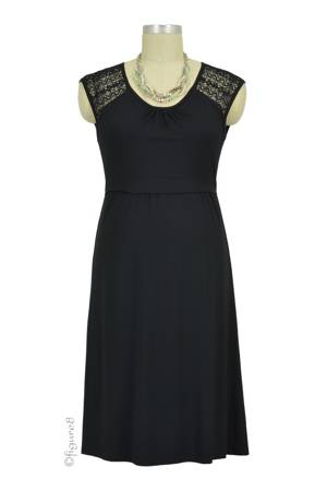 Cammie Lace Sleeve Nursing Dress (Black) by Dote