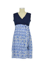 Nora Surplice Sleeveless Nursing Dress with Tie (Blue Print) by Japanese Weekend