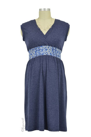 Quinn Shirred Empire Color Block Nursing Dress (Navy) by Japanese Weekend