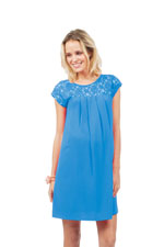 Bela Lace Top Pleated Woven Nursing Dress (Blue) by Spring Maternity