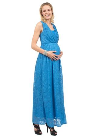 Allyce Full Lace Maxi Nursing Dress (Blue) by Spring Maternity