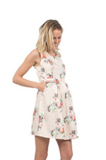 Colleen Vintage Print Woven Nursing Dress (Peach Floral) by Spring Maternity