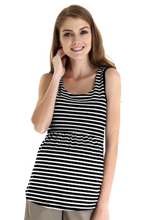 Spring Maternity Alicia Empire Nursing Tank (Black Stripes) by Spring Maternity