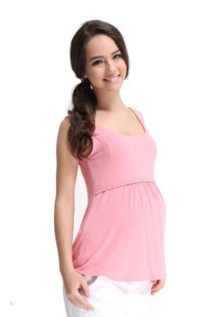 Abbey Bamboo Empire Nursing Tank (Strawberry) by Spring Maternity