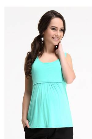 Abbey Bamboo Empire Nursing Tank (Mint) by Spring Maternity