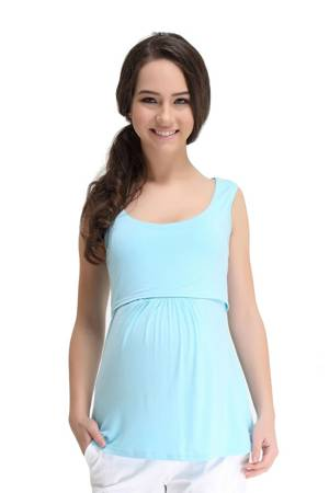 Abbey Bamboo Empire Nursing Tank (Aqua) by Spring Maternity