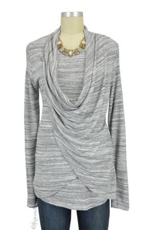 Reese Knit Draped Nursing Top (White/Grey) by Sophie & Eve