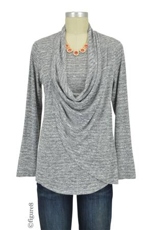 Reese Knit Draped Lightweight Nursing Sweater (Granite Stripe) by Sophie & Eve